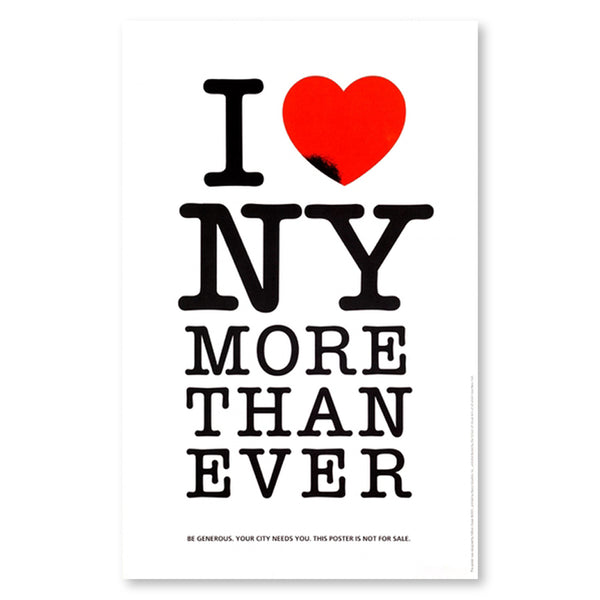 "White poster featuring an altered version of the iconic ""I HEART NY"" graphic.  The letter ""I"" to the left of a red heart with a small black cavity encroaching on its lower left edge, stacked above ""NY,"" ""MORE,"" ""THAN,"" ""EVER."""