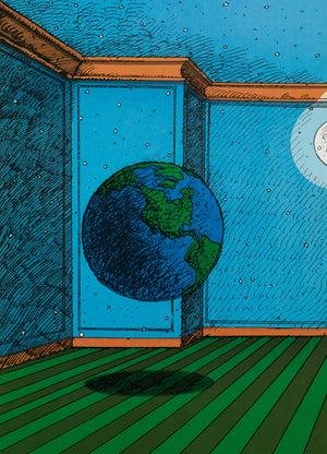 A colorful print of an earth globe floating in a blue room with a green, striped floor. A floating moon hovers off the top right.