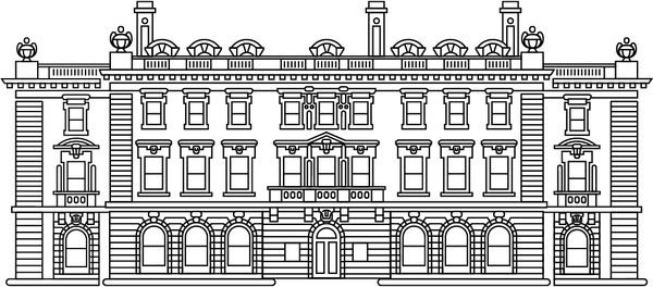 A black line drawing of an English Georgian style historic mansion.