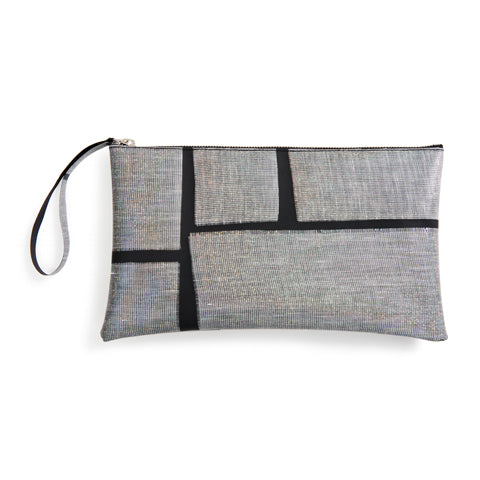A shiny, rectangular pouch with a loop wrist strap at the top let corner. The pouch is black with large patches of woven, iridescent material embedded in it. There is a zipper along the long, top edge.