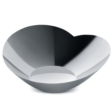 Side view of heart shaped salad serving bowl on white background.