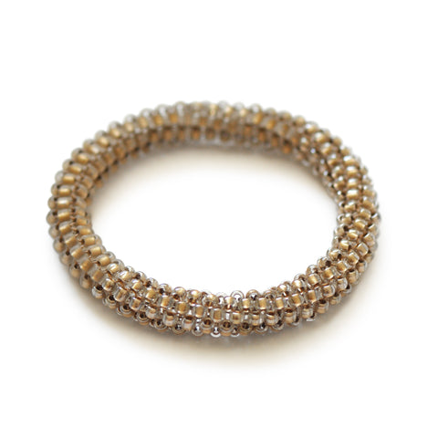 Beaded Bangle Bright Gold