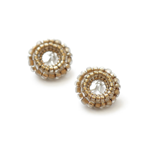 Beaded Clip Earrings Bright Gold