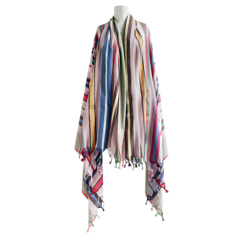 A striped scarf with tassels is draped over a mannequin bust. The stripes have varying thicknesses and are printed in multiple colors including light pink, dark pink, mint green, yellow, white and brown.