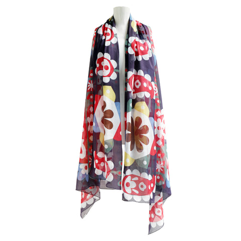 Large cotton scarf, brightly colored pattern of paisleys in red and white decorating settled navy background