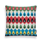 Multi-colored, teardrop patterned, square-shaped pillow by Sonnhild Kestler