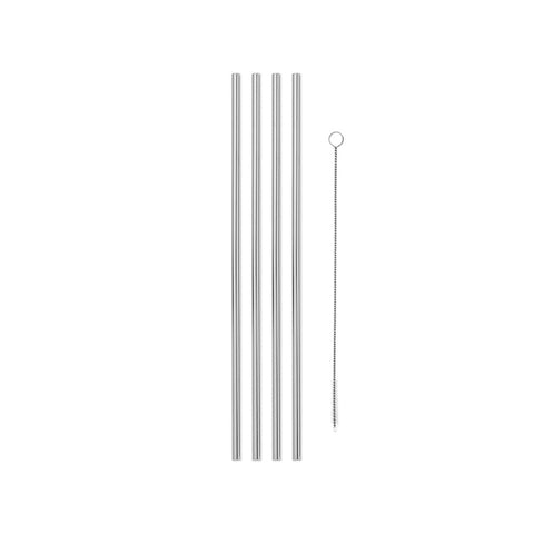 "Neatly arranged row of four vertical Silver Porter 10"" Straws and one narrow wire brush cleaner with small clear bristles at its end, on a white background."