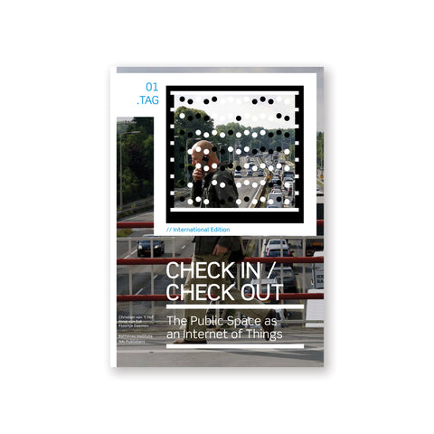 Book cover with a photograph of a bald figure walking on a highway overpass holding a phone to their ear, framed by a black and white square filled with black and white dots over the title in white sans serif font