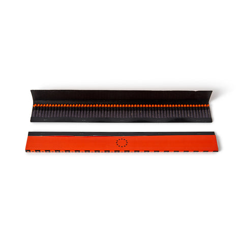 Image features 2 extra long matchbook sets; one is open, displaying the black interior with matches exposed, and the second matchbook is closed just below, mostly a vibrant red-orange hue with the company logo centered in black