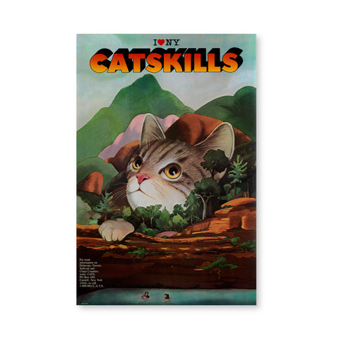 "Surreal drawing of a large cat's head looking up, surrounded by mountains and green trees, the couple is swimming in the lake at the bottom part of the poster, their heads are tiny compared to the cat. Iconic logo ""I Heart New York"" at the center on the top, lower reads Catskills in a sunset-colored font with black shadows."