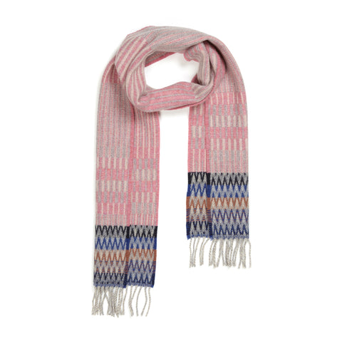 Pink Furrow scarf with lengthwise white and gray interchanging pinstripes and contrasting stripes of black blue and brown at either end, with gray fringe.