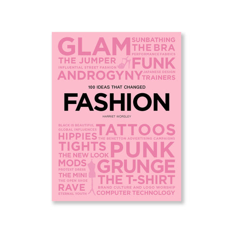 A pink book cover featuring 28 words/ adjectives/ concepts that influenced fashion, in various font sizes.