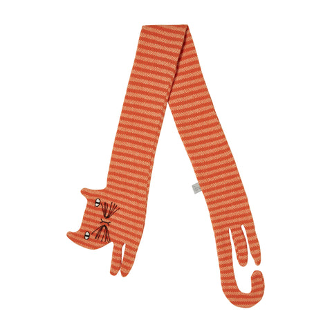 Flat view of the Ginge Cat Scarf. The scarf is a super elongated, flat cat with a head and two legs on one end and a J shaped tail and two legs on the other. The fabric is orange and light orange horizontal striped. The cat's head is round with two ears, two almond-shaped eyes, and stitched V nose and mouth with many stitched whiskers protruding from each side.