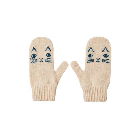 Cozy cat mittens, thumb to thumb, in oatmeal with a knitted blue cat face on each palm, including whiskers, arched ears, oval eyes and x-shaped mouth and nose.