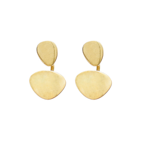 Sabi Moon Jacket Earrings are comprised of two golden, flat, rounded triangles, smaller, taller piece above a larger, wider one. Pieces are connected from behind with a thin golden piece.