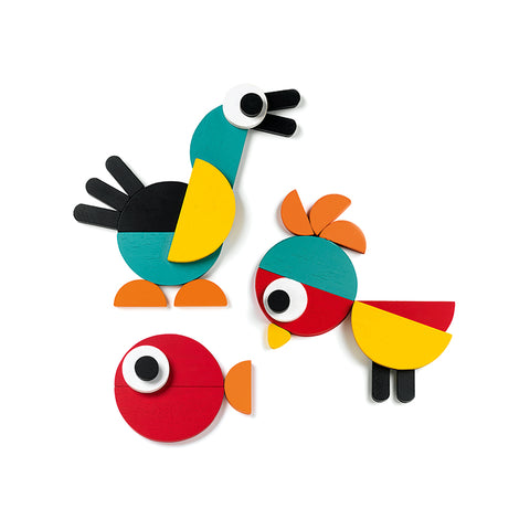 Two birds and a fish are constructed from brightly colored Geoanimo Blocks