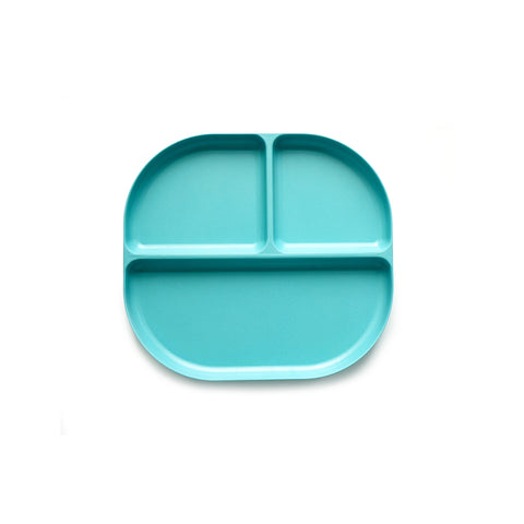 A light blue colored dining plate for kids with three compartments to store food