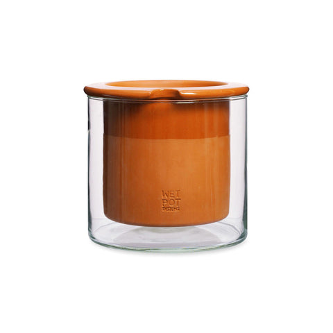 Two-piece planter with terra cotta liner and clear glass exterior holder.