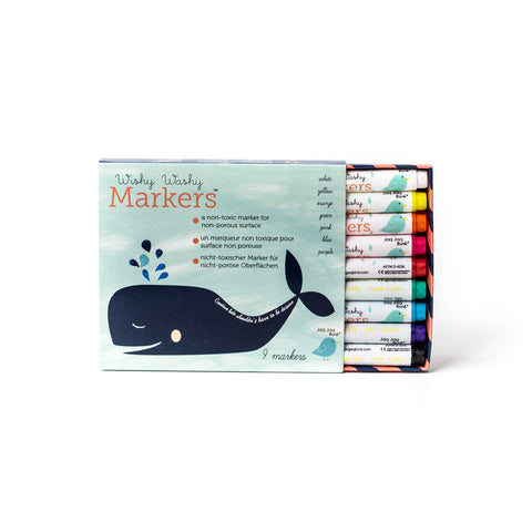 A pack of Wishy Washy Markers with the whale logo printed on the front.  Pack is slid open to show the markers inside.