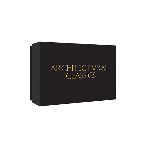 Chic black box with embossed gilded title in a classical serif font