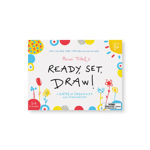 White horizontal book cover with yellow red and blue illustrations playfully dotted around the border and a handwritten title in black in the center