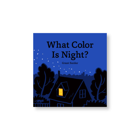 Square book cover with illustration of house and trees in rich shades of blue punctuated by a yellow light shining out a window