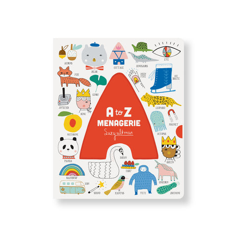 White book cover with colorful illustrations each labeled with a large cut out orange A in the center with the title inside