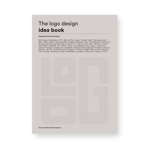 Light gray book cover with embossed grid with playfully arranged letters at the bottom, sans serif title at the top, and densely listed featured designers in the middle