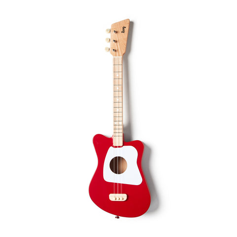 Image of a small three string guitar with a red and white body. The neck is natural wood with the Loog logo embossed in black on the head.