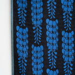 Knit Bloom Blanket that is almost black with a bright blue, vertical wisteria flower pattern on the front.