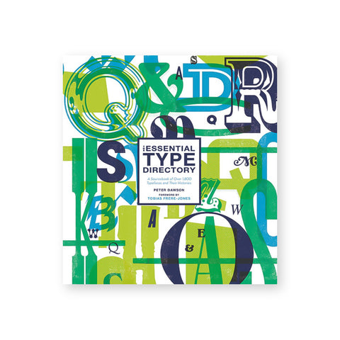 Book cover with green lime navy and cyan letterforms printed in various sizes some overlapping. Title in white field in center