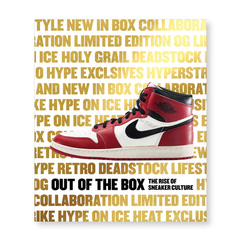 White book cover covered in words in thick gold letters with the title in one of the rows in black. A red white and black sneaker is shown in the center