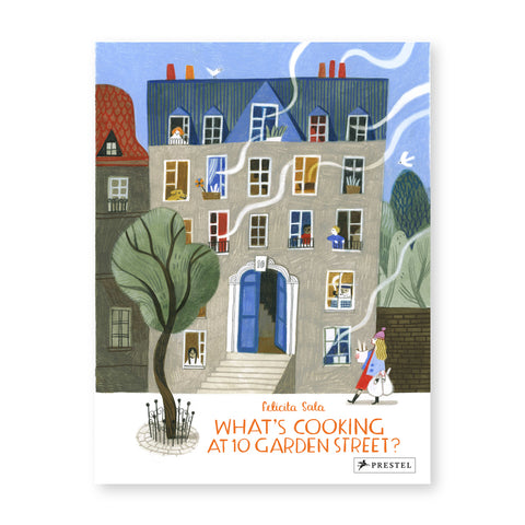 Book cover with illustration of a five story town home with gray walls and blue pitched roof and red chimney pipes. Flowing white steam emits from several windows with other windows showing figures inside. Title writting in orange in the foreground with a green and approaching figure