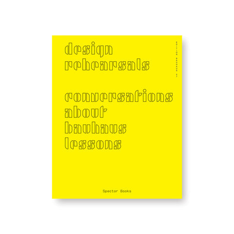 Yellow book cover with title in hollow stenciled modern font