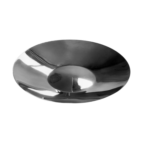 Quarter view of a circular, shiny, metal vessel that is very shallow with a convex center and thin walls.