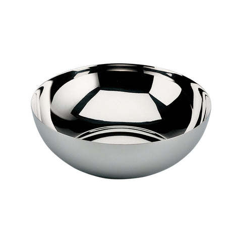 Quarter view of a round, shiny, metal bowl that is slightly more shallow than half of a sphere, with a convex center and thin walls.