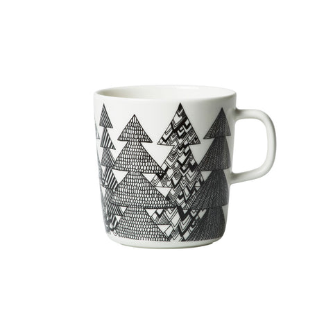 Kuusikossa Mug, large white stoneware mug with white and black Kuusikosssa spruce tree pattern by designer Maija Louekari, a magical forest where every tree is unique and special. Dishwasher, oven, microwave, and freezer proof.