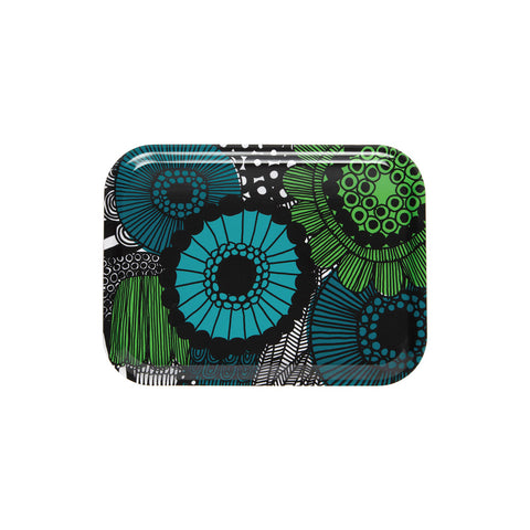 Pieni Siirtolapuutarha Rectangular Tray. Laminated birch plywood tray with rounded corners decorated with the lush floral pattern overflowing with brightly-colored  flowers in green turquoise and teal.