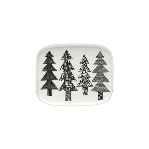 Rectangular white plate with rounded corners on a white background, decorated with a pattern of four fanciful spruce trees outlined in black with stacked triangular tiers and straight trunks filled with unique flowing and geometric patterns.