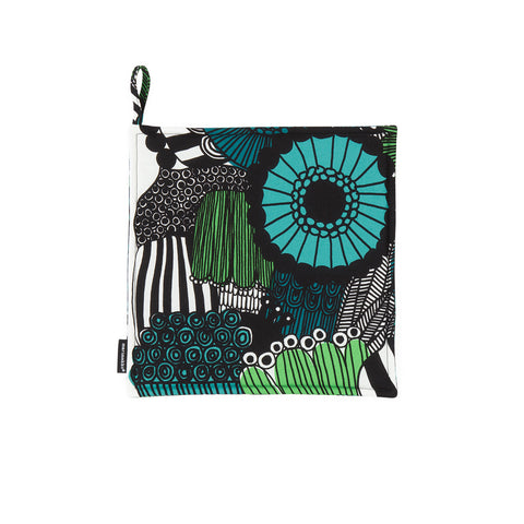 Pieni Siirtolapuutarha  square Pot Holder with hanging tab, 100% cotton, decorated with the lush floral Pieni Siirtolapuutarha (Small City Garden) pattern, overflowing with brightly-colored, abstract flowers in green,  turquoise and teal.