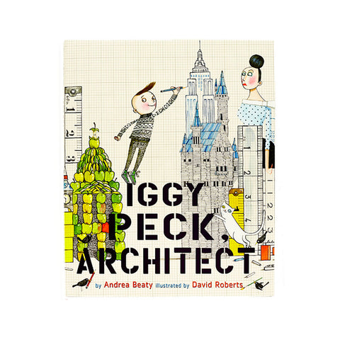 Playfully illustrated bookcover with young light skinned boy drawing famous buildings while turning to look at us. a light skinned woman looks at him apprehensively