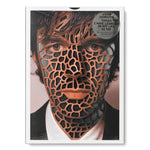 Book cover with a close up portrait of a man with die cut shapes cut out of the face