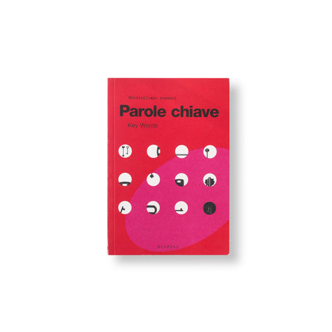 Bright red book cover with a pink oval and a grid of circular cutouts showing black and white forms below. Title in black san serif font above