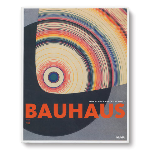 Book cover with graphic illustration of black disc partially covered with a form showing colorful concentric rings. Title near bottom in bold orange san serif font
