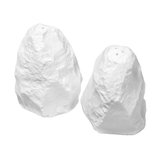 Salt & pepper set, with heavily chiseled texture, shot on white background.