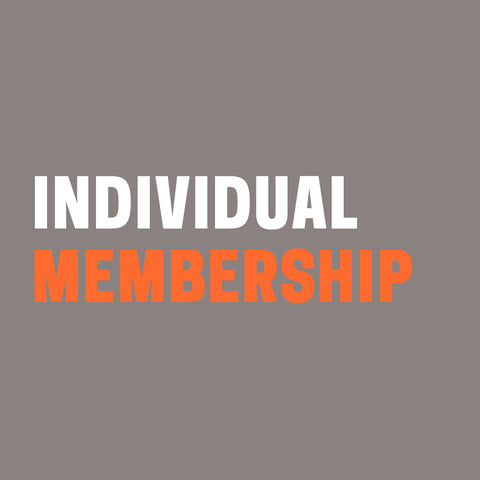 "Grey background with words ""Individual Membership"" in white and orange."