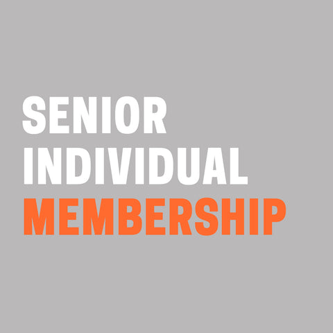 "Grey background with ""Senior Individual Membership"" in white and orange text."