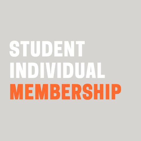 "Grey background with ""Student Individual Membership"" in white and orange text."