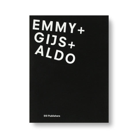 "Black book cover with the words ""Emmy + Gijs + Aldo"" in white sans serif font slightly fanned in upper left corner"