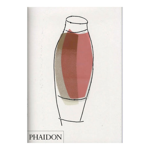 White book cover with a simple illustration of a vase with beige and pink fields